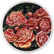 Grandma Lights Peonies Round Beach Towel