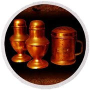 Grandma's Kitchen-copper Salt Pepper  And Flour Shakers Round Beach Towel