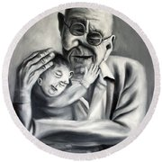 Grandpa Round Beach Towel by Anthony Falbo