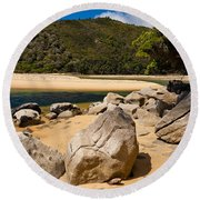 Granite Boulders In Abel Tasman Np New Zealand Round Beach Towel
