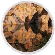 Granite Cliffs And Reflections In A Quarry Lake Round Beach Towel