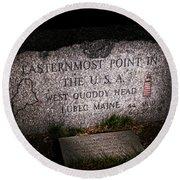 Granite Monument Quoddy Head State Park Round Beach Towel
