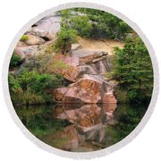 Granite Quarry And Reflections In The Missouri Ozarks Round Beach Towel