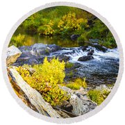 Granite Rocks Above The Cascading Feather River, Quincy California Round Beach Towel