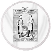 Grant And Wilson 1872 Election Poster  Round Beach Towel