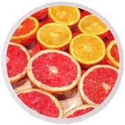 Grapefruit And Oranges Round Beach Towel