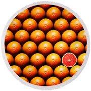 Grapefruit Slice Between Group Round Beach Towel by Johan Swanepoel
