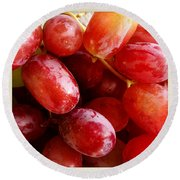Grapes Round Beach Towel by Les Cunliffe