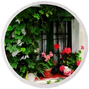 Grapevines And Geraniums Around A Window Round Beach Towel