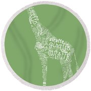 Graphic Giraffe Round Beach Towel