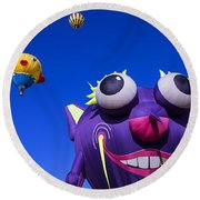 Graphic Hot Air Balloons Round Beach Towel