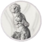 Graphite Drawing Of The Rebellious Slave Sculpture By Michelangelo Buonarotti Round Beach Towel