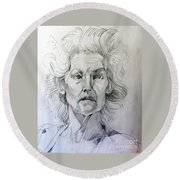 Graphite Portrait Sketch Of A Well Known Cross Eyed Model Round Beach Towel