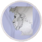 Graphite Portrait Sketch Of A Young Man In Profile Round Beach Towel