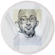 Graphite Portrait Sketch Of A Young Man With Glasses Round Beach Towel
