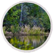 Grass On The Water Round Beach Towel