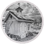 Grass Roof Shed Round Beach Towel