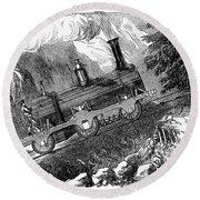 Grassi Locomotive, 1857 Round Beach Towel