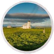 Grasslands And Flatey Church, Flatey Round Beach Towel