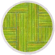 Grassy Green Stripes Round Beach Towel