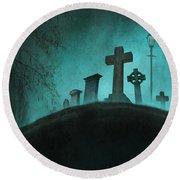 Graveyard At Night Round Beach Towel