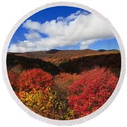 Graveyard Fields In The Mountains Round Beach Towel