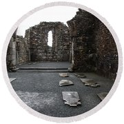Graveyard In Church Ruin - Ireland Round Beach Towel