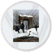 Graveyard Under Snow Round Beach Towel