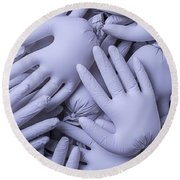 Gray Hands Round Beach Towel