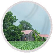 Gray Sky - Red Roofed Barn - Green Fields Round Beach Towel