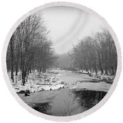 Gray Stream Round Beach Towel