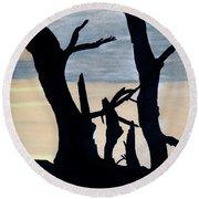 Gray Sunset Round Beach Towel