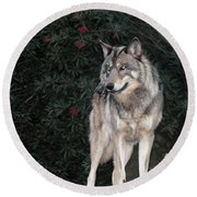 Gray Wolf Endangered Species Wildlife Rescue Round Beach Towel