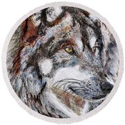 Gray Wolf Watches And Waits Round Beach Towel