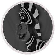 Gray Zebra Round Beach Towel