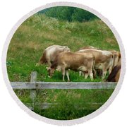 Grazing Cows Round Beach Towel