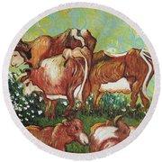 Grazing Cows Round Beach Towel