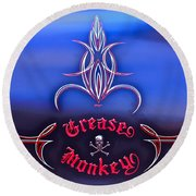 Greased Monkey Round Beach Towel