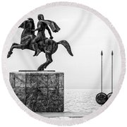 Great Alexander Greece Round Beach Towel