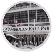 Great American Ball Park And The Cincinnati Reds Round Beach Towel