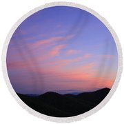 Great Balsam Mountains At Dusk - Blue Ridge Parkway Round Beach Towel