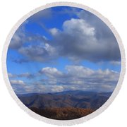 Great Balsam Mountains From Waterrock Knob Round Beach Towel
