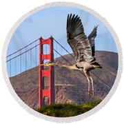 Great Blue At The Golden Gate Round Beach Towel