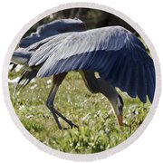 Great Blue Dining Out Round Beach Towel
