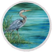 Great Blue Heron-2a Round Beach Towel