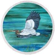Great Blue Heron-3a Round Beach Towel