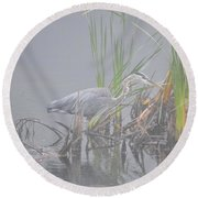 Great Blue Heron 4 Round Beach Towel