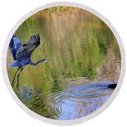Great Blue Heron And Coot Round Beach Towel