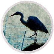 Great Blue Heron Fishing In The Low Lake Waters Round Beach Towel