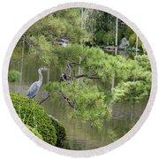Great Blue Heron In Pond Kyoto Japan Round Beach Towel